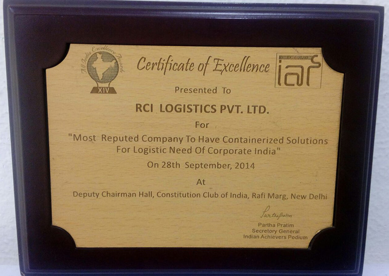 Awards & Achievements | RCI Logistics Pvt Ltd